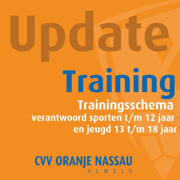 Update Trainingsschema (update 21:30 uur)